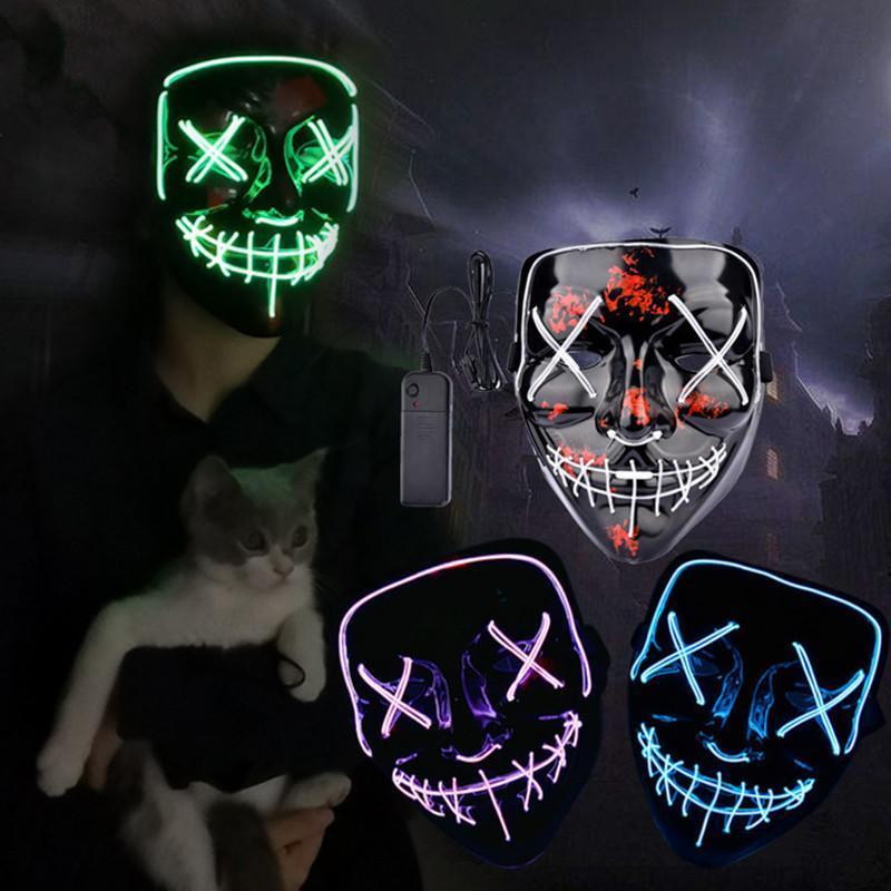 Maske 9styles Led Halloween-Party-Masque Masken Neon Maske Licht leuchtet in der Dunkelheit Mascara Horror Maske Glühend Masker FFA3017