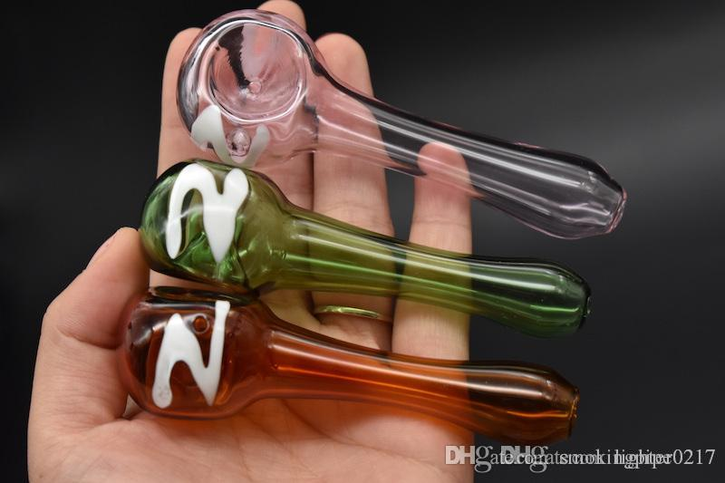 Wholesale glass hand pipe colorful numbe glass tobacco smoke pipe spoon Pipes Oil Glass Pipes Candy Hand Pipe for smoking free shipping