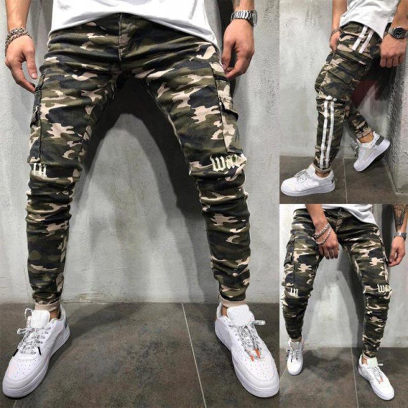 L'arrivée de nouveaux hommes Jeans Retro Hip Hop Biker Hommes Jeans de haute qualité Camouflage Motif Hommes Pantalon Bleu Taille S-3XL