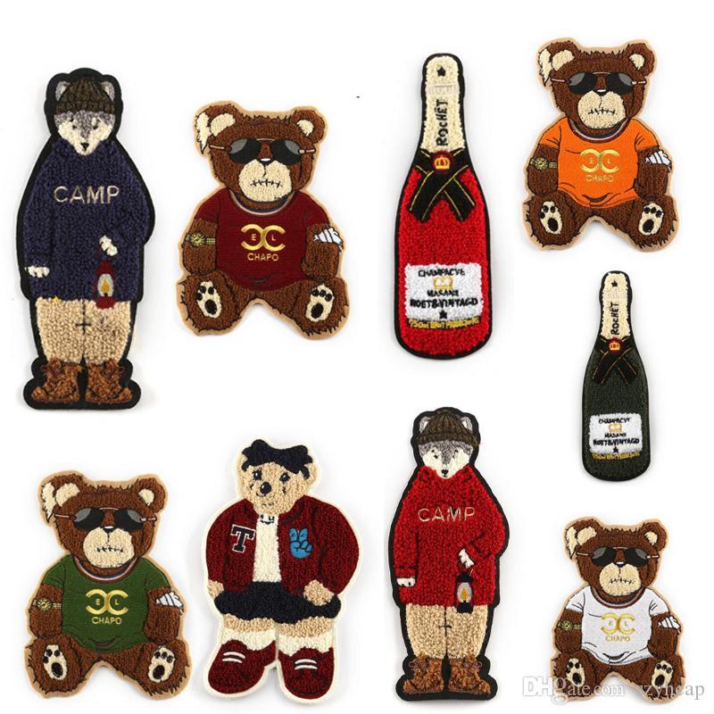 Plancha en parches Barco de oso de dibujos animados Personalizado Toalla de gran tamaño Bordado Coser en parche para ropa