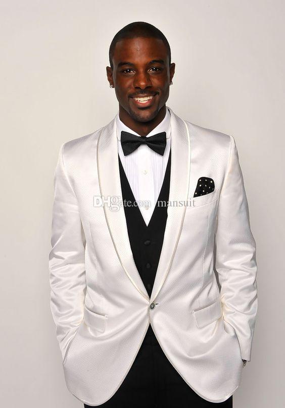 Garçons à la mode châle revers marié Tuxedos One Button Hommes Costumes Mariage / Prom / Dîner Meilleur Homme Blazer (Veste + Pantalon + Gilet + Cravate) M1127