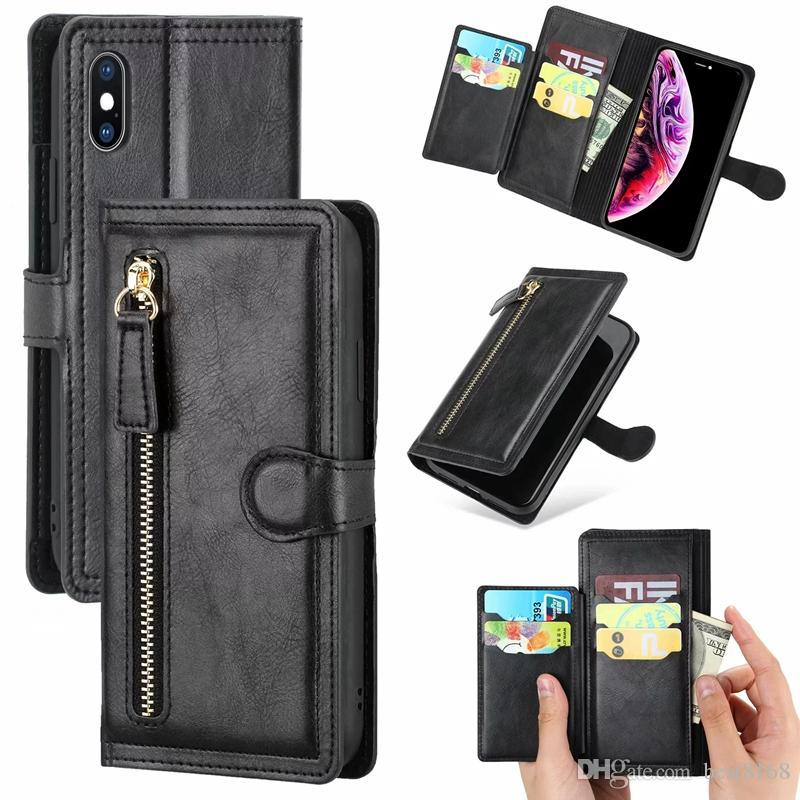 Multifunction Leather Wallet Case For Iphone 11 Pro XR XS MAX X 8 7 6 Vintage Retro Zipper Cash ID Card Slot Flip Cover Luxury Holder Purse