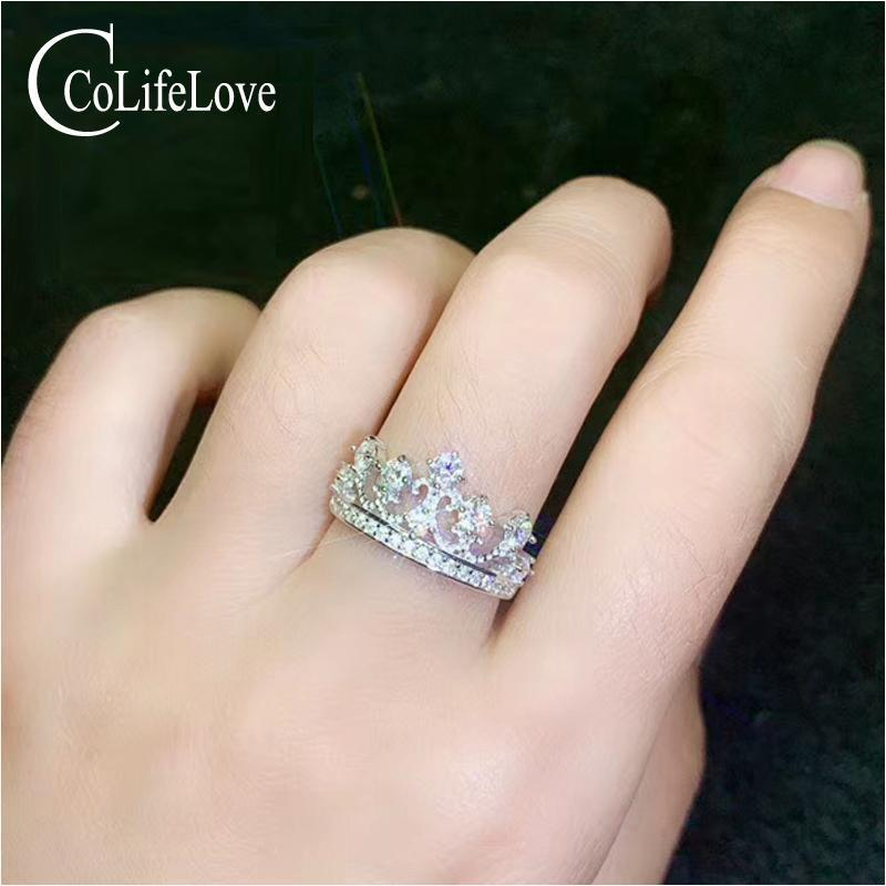 CoLife joyería anillo de la corona de Moissanite para la chica joven de 5 Piezas color D VVS1 Grado Moissanite regalo anillo de plata de cumpleaños para chicas