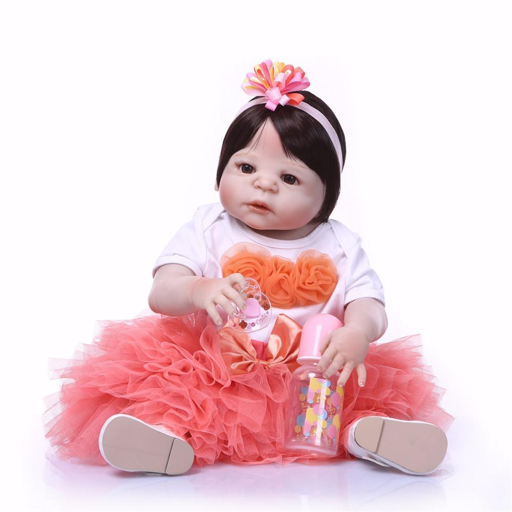 Bebe Reborn 23inch 57cm bebe Reborn Baby Dolls full Silicone Reborn Bebe Doll Vinyl Toys gifts cute gift For Girls and boys pink heart