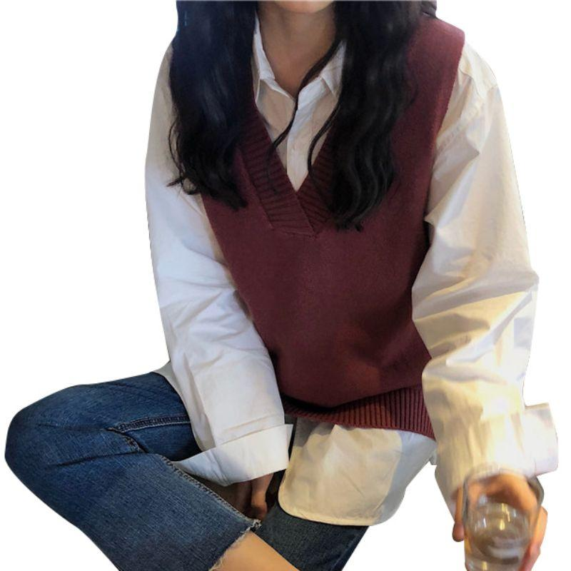 Otoño Las mujeres de moda suéter con cuello en V sin mangas de Split chaleco flojo de punto de algodón chaleco