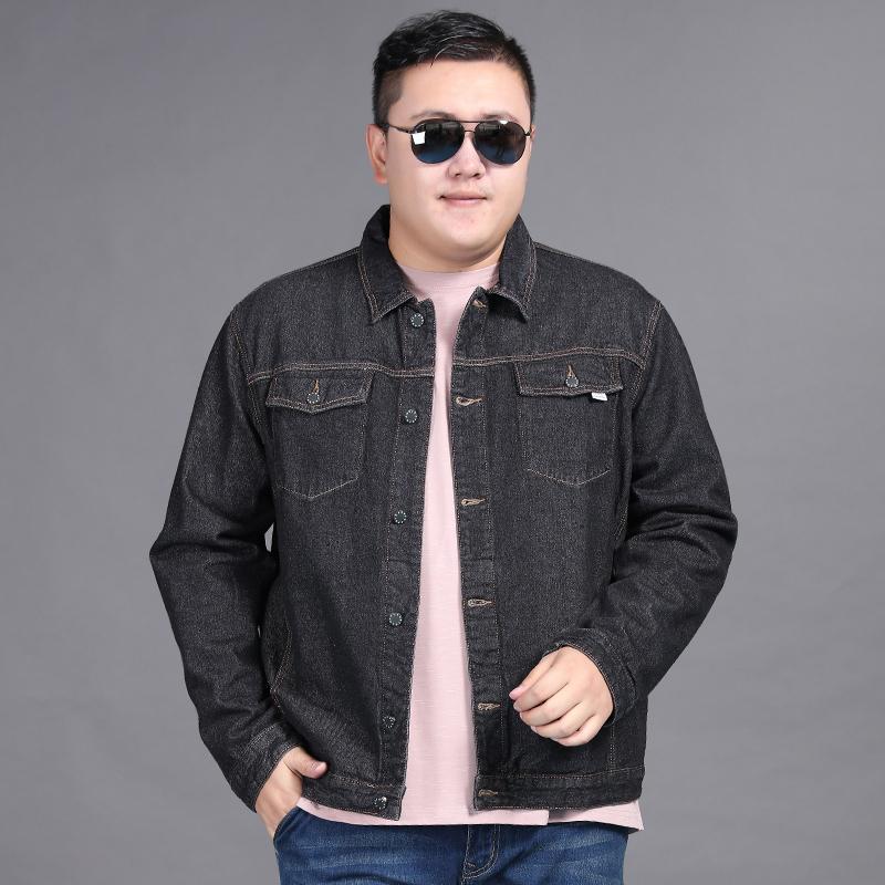 Yeni BÜYÜK beden 8XL 7XL 6XL klasik denim ceket erkekler marka giyim pamuk rahat erkek jean ceket lacivert katı ceket erkek
