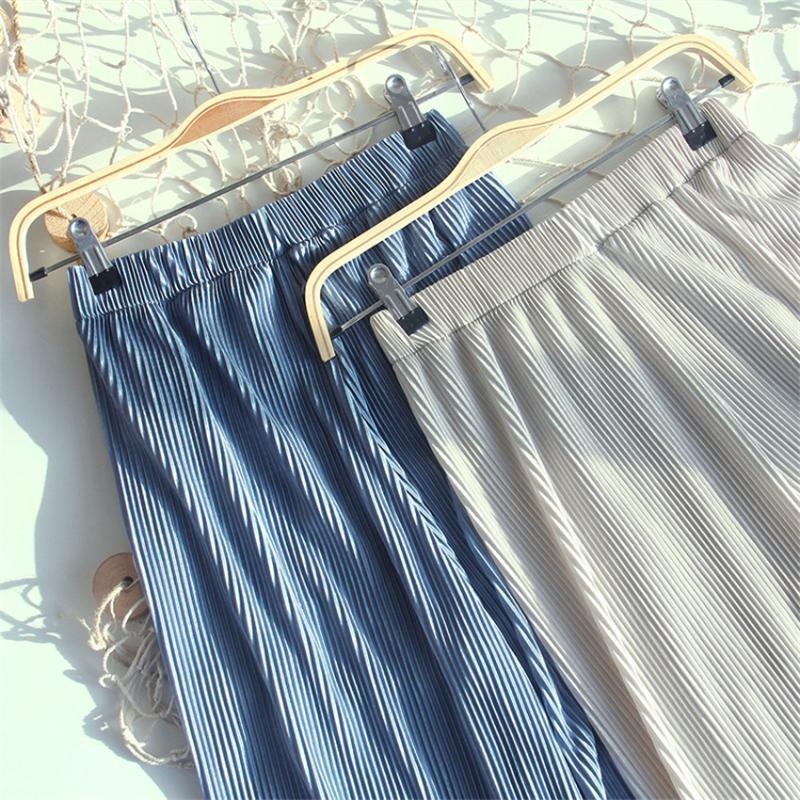Gowyimmes 20 Nuevo tamaño grande de las mujeres del verano gasa plisada pantalones ocasionales de los pantalones anchos de la pierna del pantalón femenino fresco largo de seda del hielo Pantalones P750