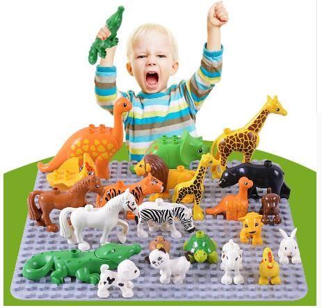 동물 시리즈 모델 피규어 빅 빌딩 블록 인텔리전스 장난감 동물 교육 완구 어린이 완구 호환 교육 완구