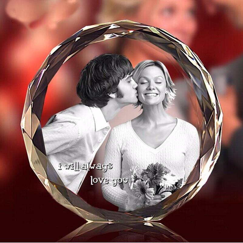 3D Laser gravado Rodada Cristal Photo Frame personalizado Vidro Molduras para presente de lembrança do bebê do dia Mãe dos Namorados casamento