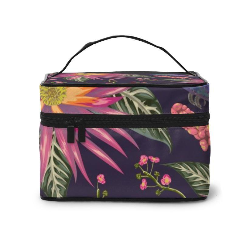 das mulheres Organização viagem Beauty Cosmetic Lady Wash Bolsas Colibri Tropical Flores Bagas e folhas Bolsa Pouch