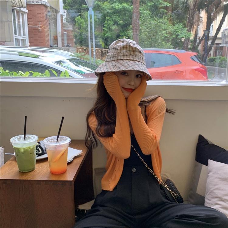 WDPAm langärmelige koreanischen Stil dünnen Sommerfrauen V-Ausschnitt oben Nabel exponierten Sonnenschutz kurze Außen Strickjacke Strickwaren Top Strickwaren q2518