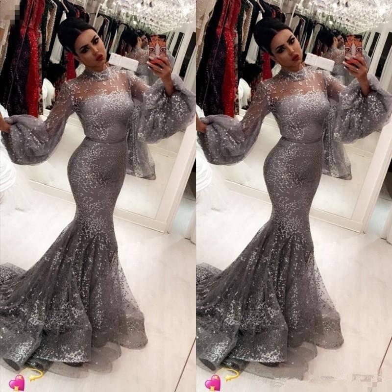 2019 moda paillettes sirena abiti da ballo sexy hihg collo tromba maniche lunghe abiti da sera attraente abiti da sera alla moda