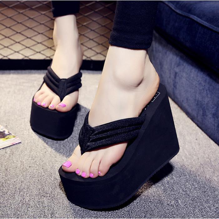 11 cm di altezza tallone Bohemian signora Flip Flops delle donne antiscivolo fondo spesso clip Tow sandali e ciabatte Medio Heel Shoes Beach