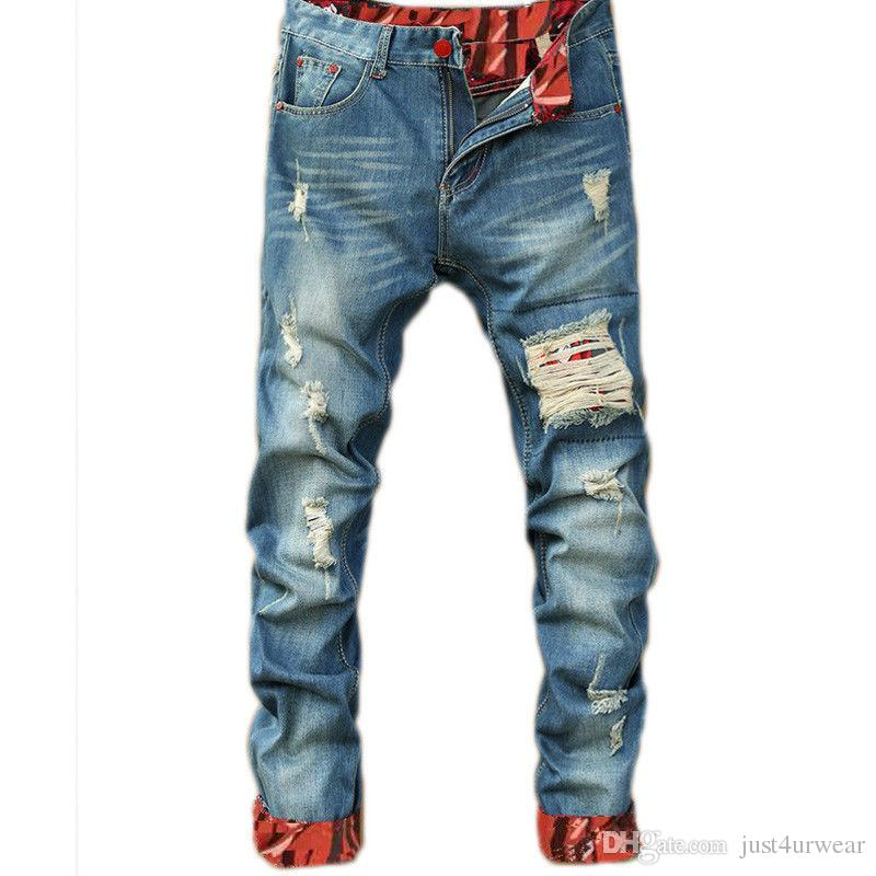 Mens Casual Straight Jeans Retro Slim Skinny Jeans Fashion Designer Ripped Men Hip Hop Light Blue Denim Pants