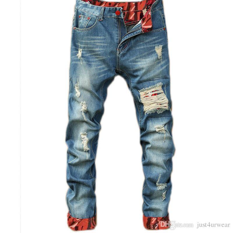 Mens ocasionales diseñador pantalones vaqueros rectos delgado retro Vaqueros Moda rasgado hombres Hip Hop Light Blue Denim Pantalones