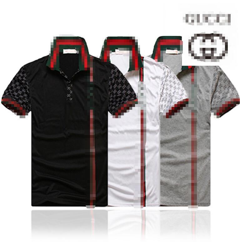 New Luxuryt Designers T-shirt for men stripe Fashion poloshirt shirt men High street Snake Little gûccì print mens polo shirt