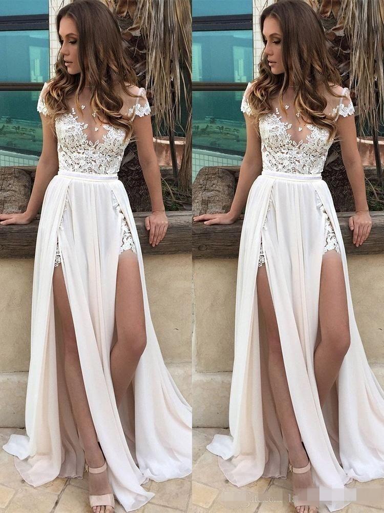 Fashion Short Capped Sleeves Beach Boho Wedding Dresses A Line Lace Applique High Split Chiffon Bohomian Wedding Bridal Gown robe de mariée