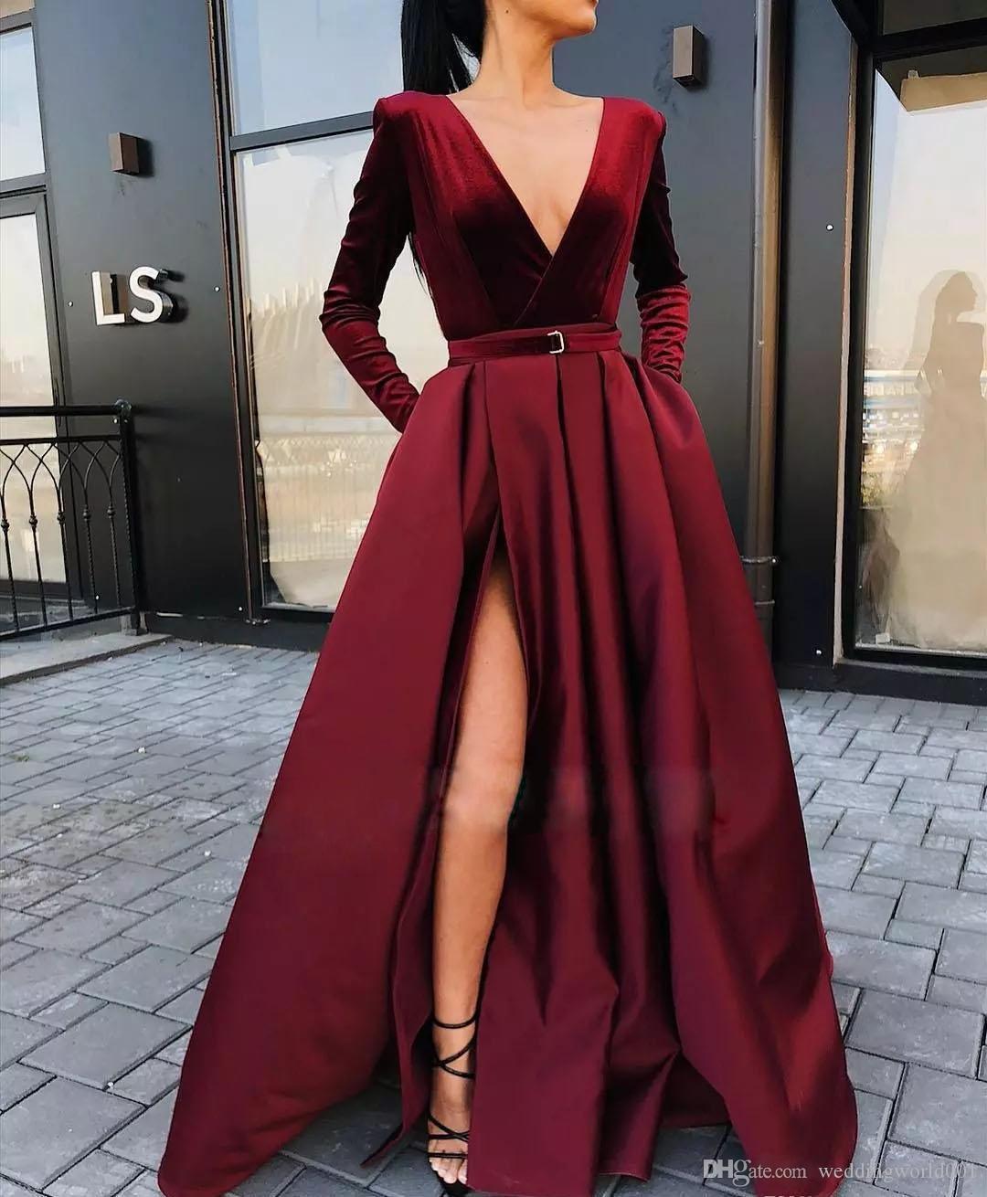 A-Line Burgundy Vestidos profunda V-Neck manga comprida vestido de noite Com fenda e Grande Fenda Para Formal Vestido Banquet Prom Dress