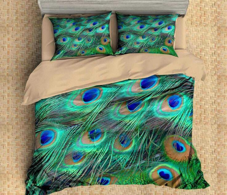 Feather Pattern Bedding Set 3D Peacock Colorful Feather Printing Duvet Cover with Pillowcase Full Queen King Size