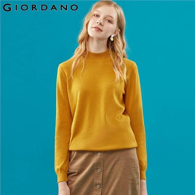 Giordano Mulheres Sweater Mockneck Sólidos elegante Pull Knitwear manga comprida macia Femme Nouveauté 2019 05359869 V191130