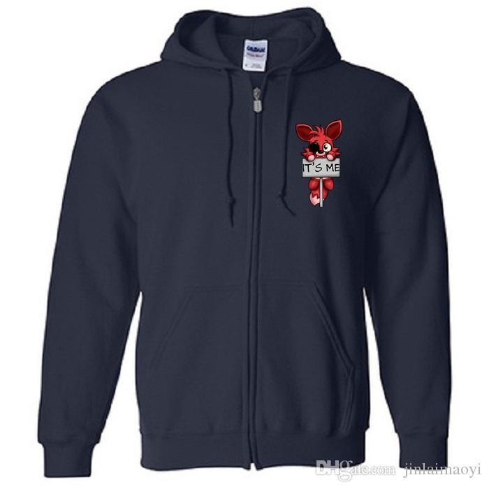 Bu benim Kawaii FNAF Peluş Foxy Hoodies Tişörtü erkek Fermuar kapüşonlu Ceket Windbreak pamuk Polar Hırka Adam Mont Giysi
