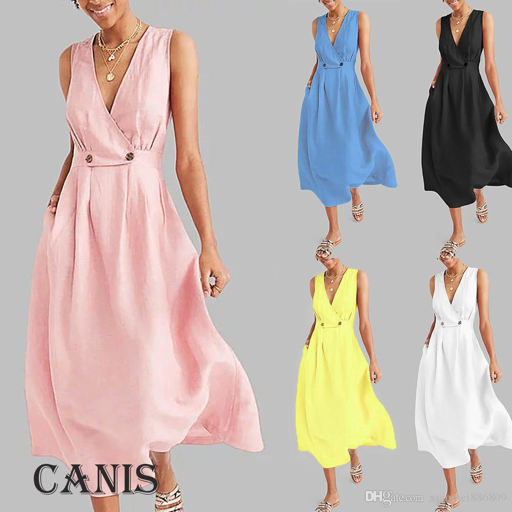 السيدات المرأة عطلة الصيف عارضة فستان الشمس حزب شاطئ فستان طويل