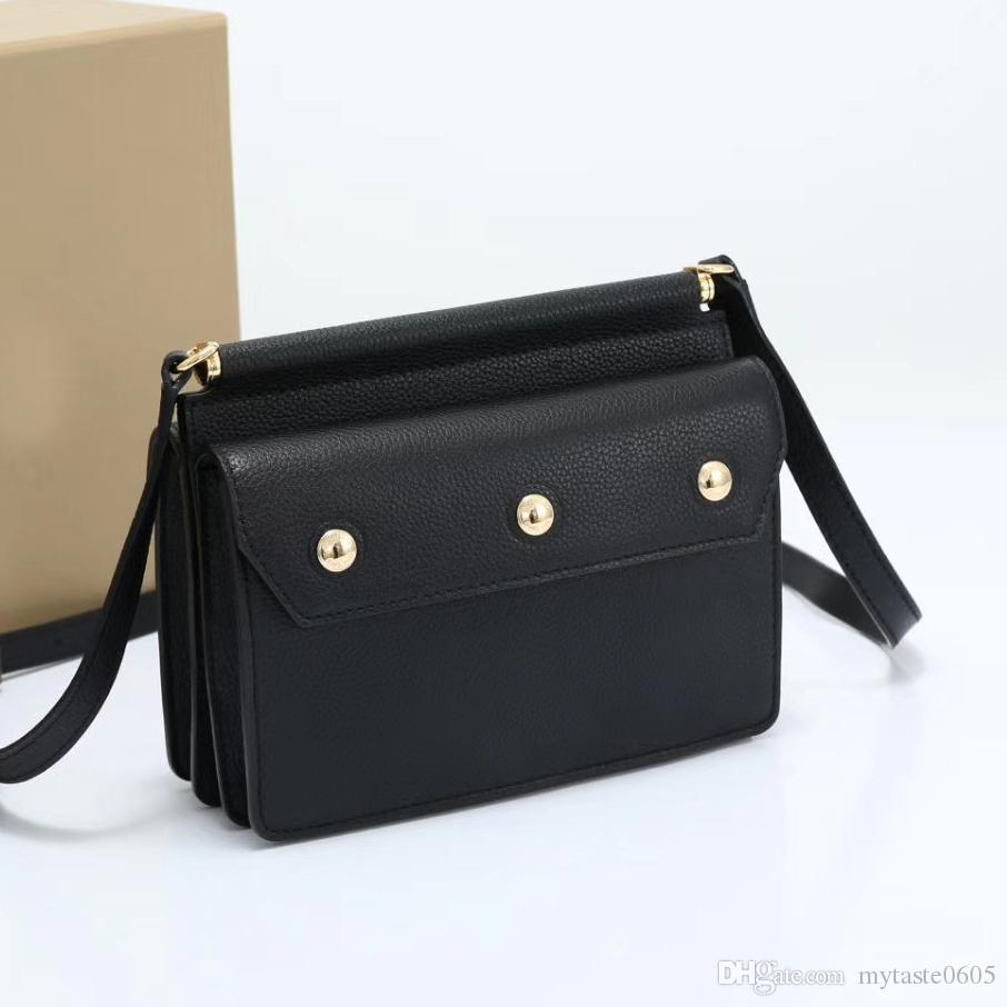 Bolso de hombro 19cm simple bolsa Cruzado Negro / rojo del color de piel de cordero