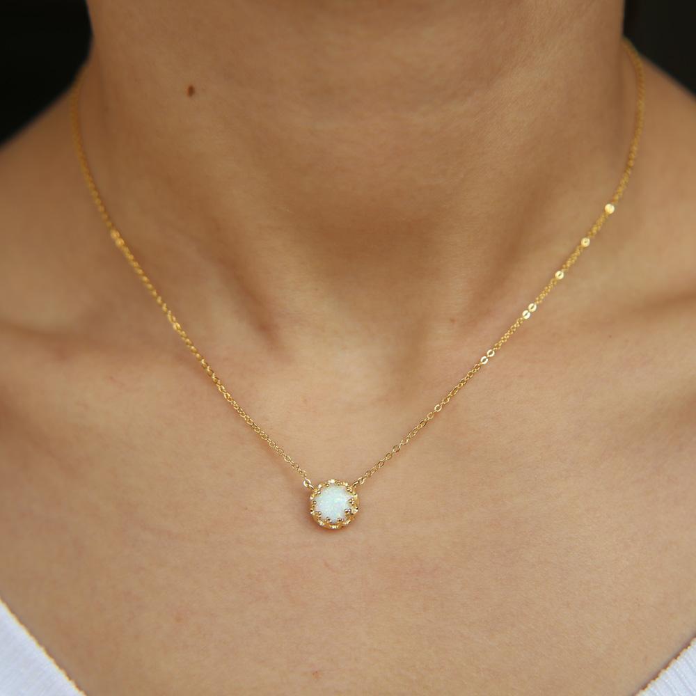 All'ingrosso-sterling pizzo corona d'argento aperto singola pietra opale gemma semplice di alta qualità del clalssic pietra collana opalina 925