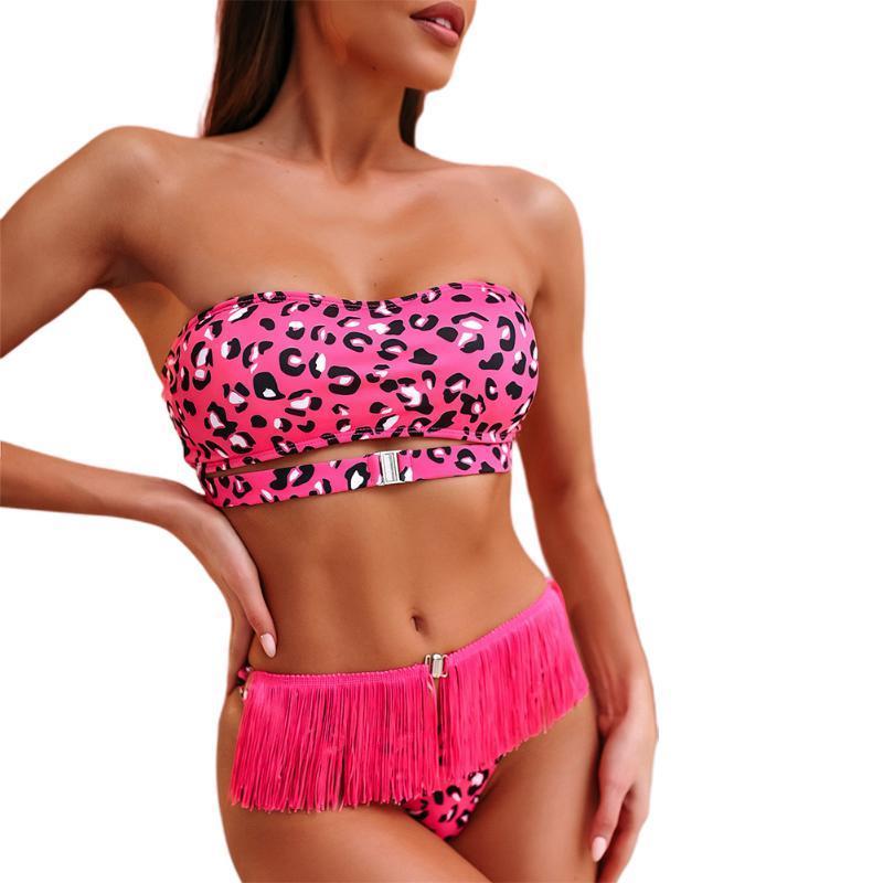 2020 Мода женщины дамы Sexy кисточка Leopard 2pcs бикини Set купальня костюм летний отдых на пляже Одежда