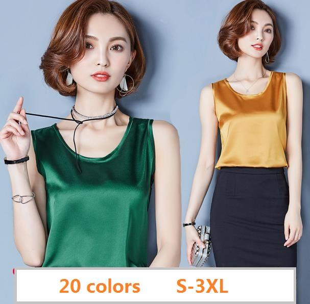 2018 Summer 20 color Plus size sexy O neck satin tank tops women casual loose golssy satin silk camis Girls silk tank tops
