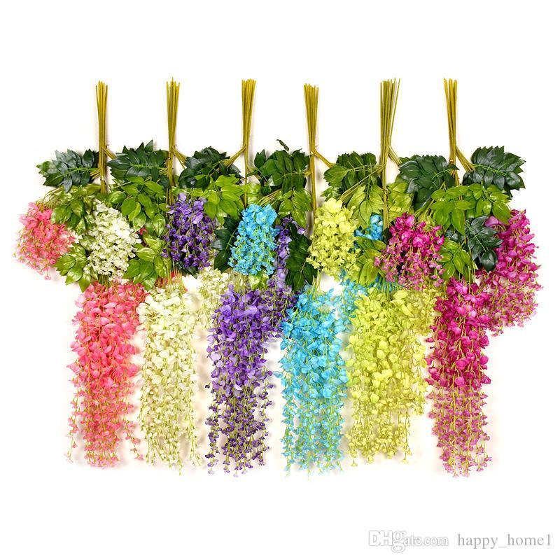 Wisteria Düğün Dekor Şenlikli Parti Düğün için Yapay Dekoratif Çiçekler Garlands Ev Gereçleri çok renkler 110 cm / 75 cm