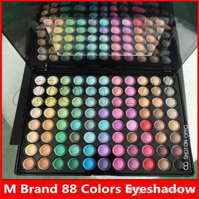 M Marque maquillage mat 88 couleurs Shimmer fard à paupières avec un miroir et 2 brosses Livraison gratuite