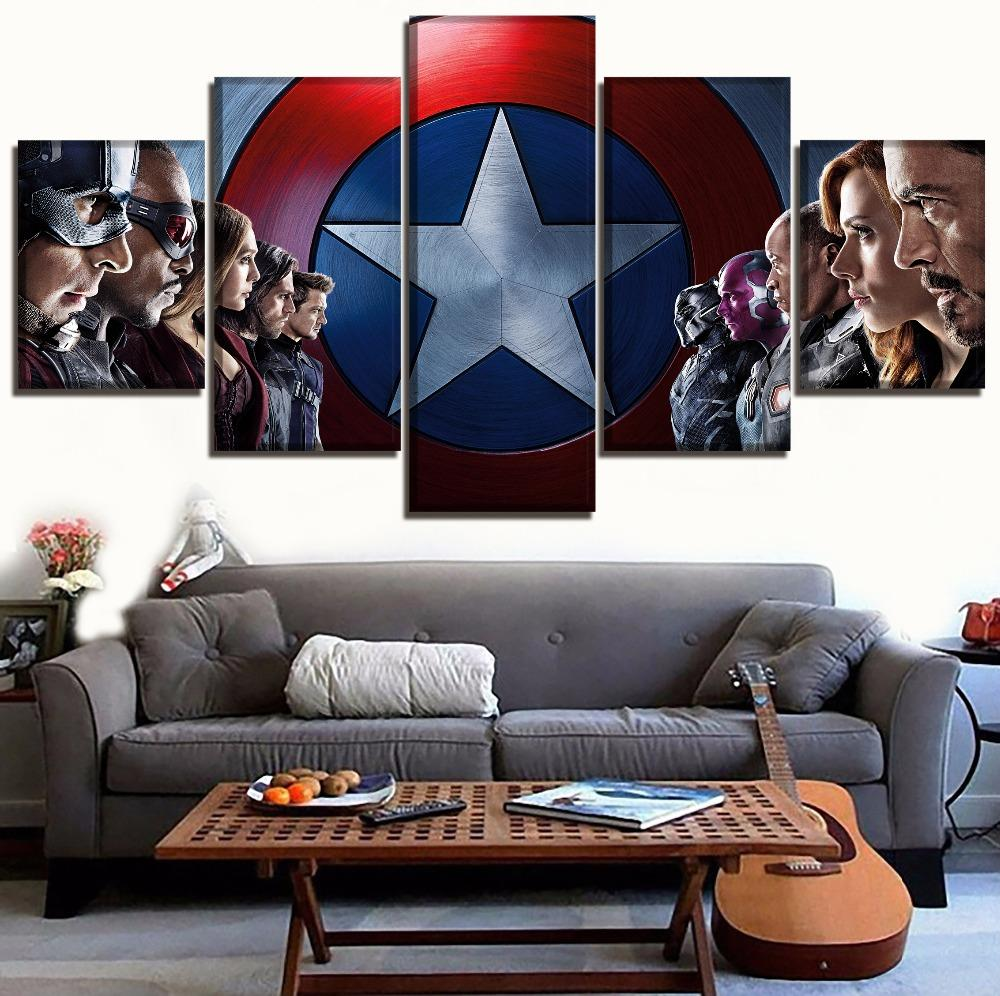 America Movie The Avengers,5 Pieces Canvas Prints Wall Art Oil Painting Home Decor (Unframed/Framed)