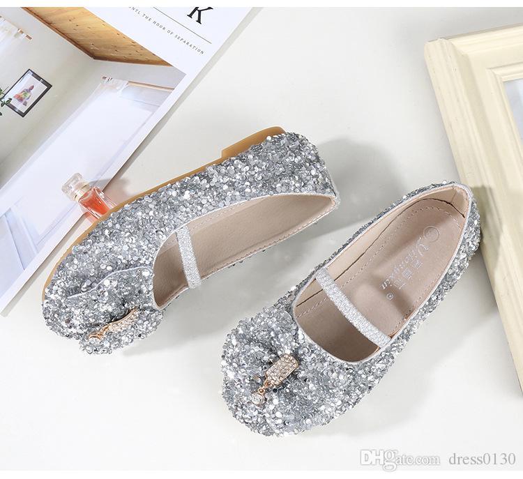 89d5b93c1fe ... Silver Shiny Cinderella Sequins Shoes Designer Fashion Luxury Brand  Girl Shoes Designer Shoes Full Sequins Kid