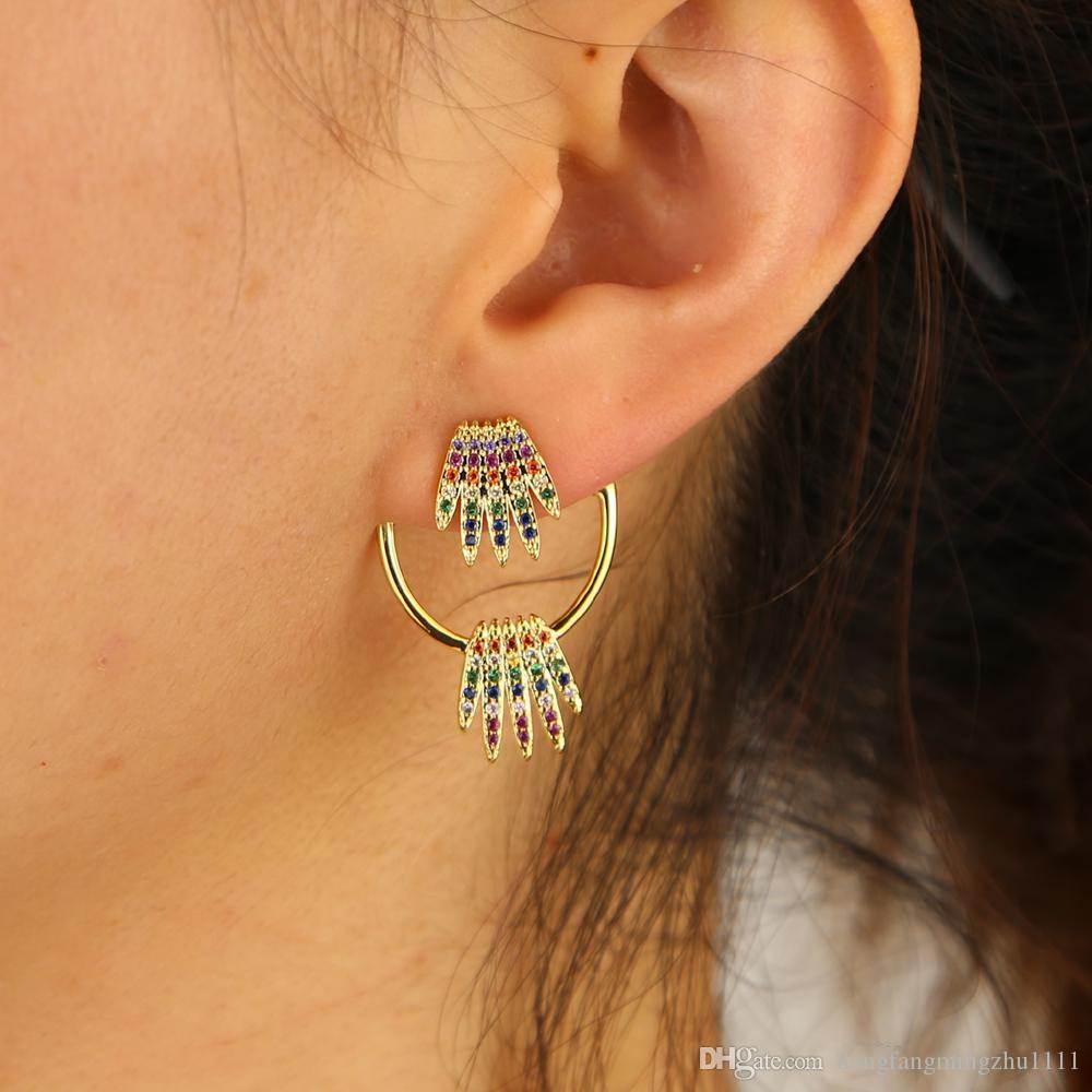 arcobaleno cz corona orecchino per le donne oro colorato cz doppio lato anteriore posteriore moda orecchini giacca alla moda