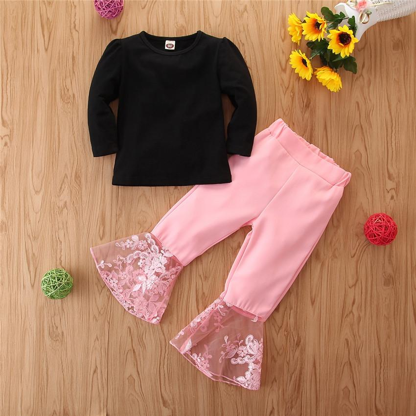 2020 Mädchen-Kleidung 2 Stück Kleidung Set Schwarz Tops T-Shirts Rosa Ausgestelltes Hosen Prinzessin Mädchen-Kleidung Set