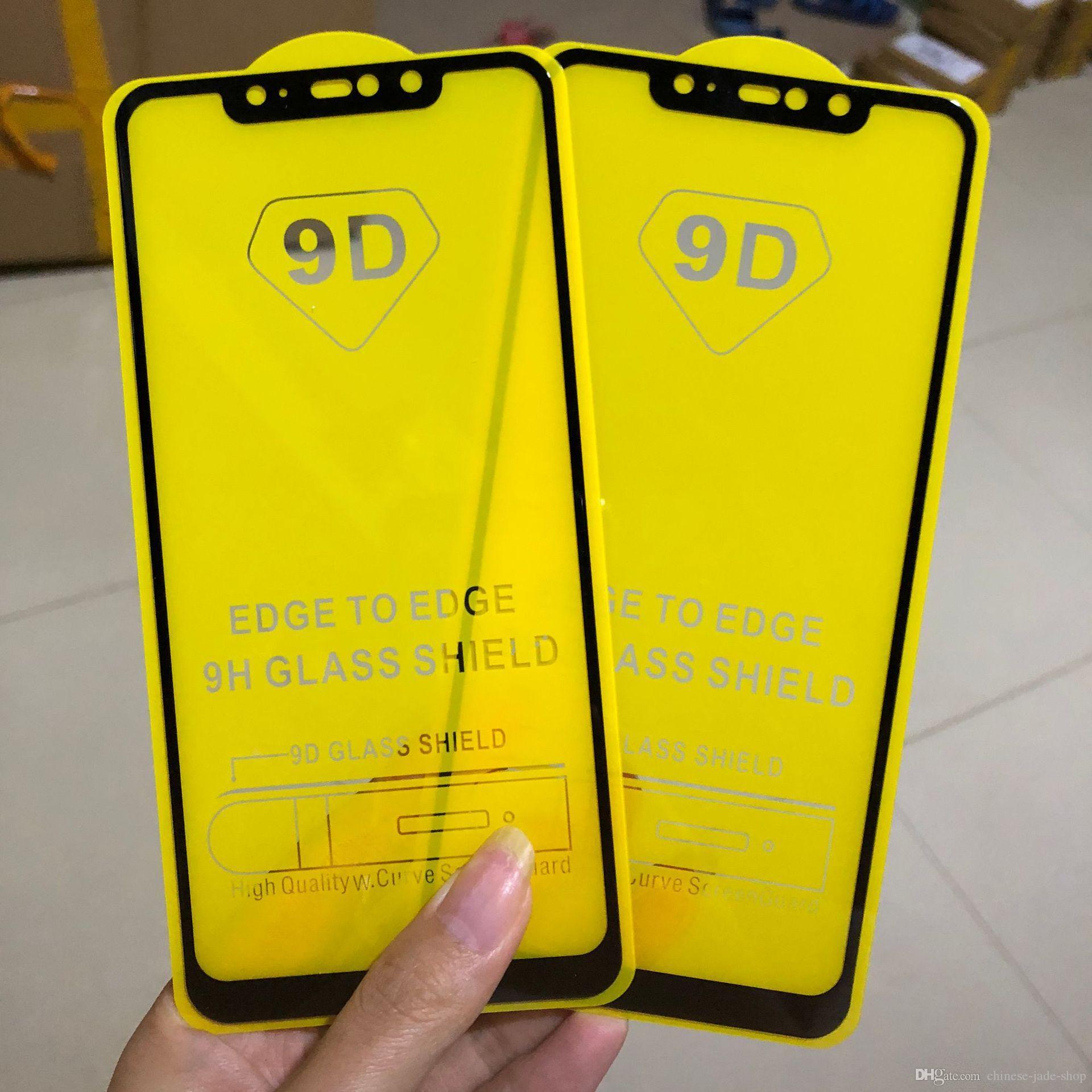 フルカバー6D / 9D強化ガラススクリーンプロテクターAB接着剤エッジSamsung Galaxy S7 M10 M20 J8 J8 Plus A8S A30 100PCS /ロット