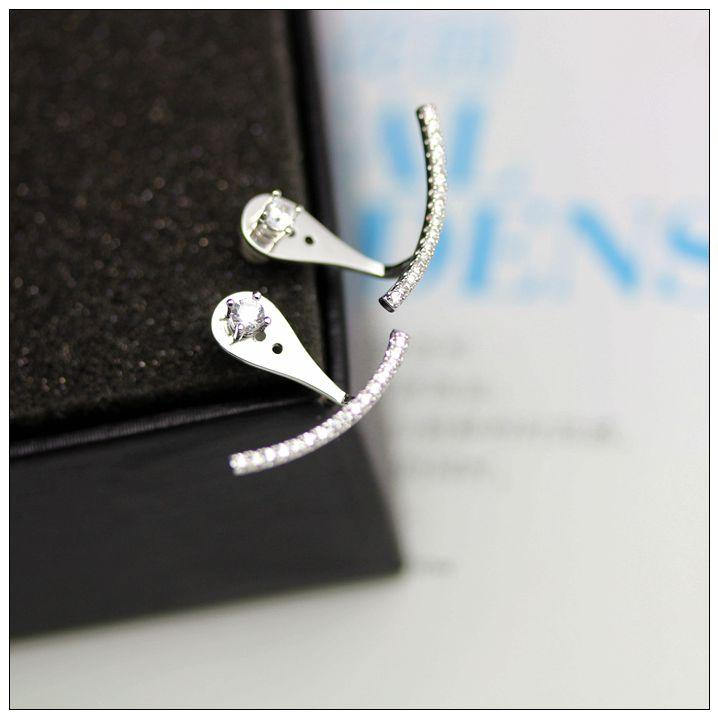 Fashion-Pave CZ Stones Curved Line Ear Jacket Earrings Women Elegant Front Back Two Sides Earrings Ear Cuff Ear Climber Studs