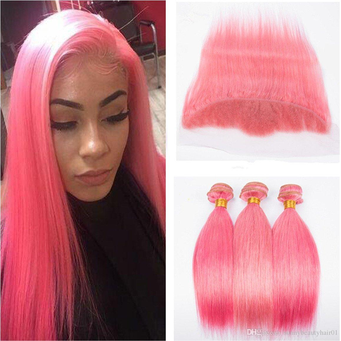 8A # 핑크 색상 인간의 머리카락 스트레이트 번들 우대에 귀에 3PCS 레이스 정면 4PCS Lot 실키 스트레이트 13x4 전체 레이스 정면 폐쇄
