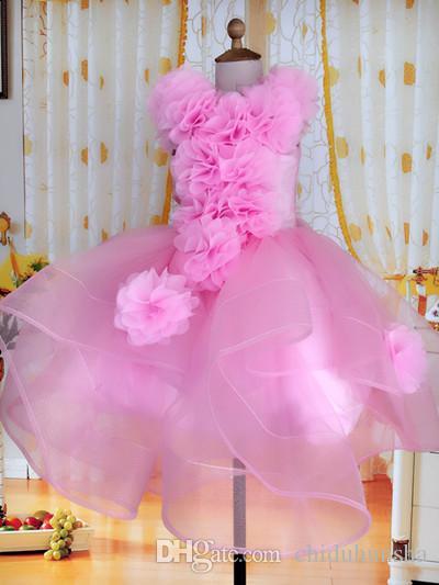 핑크 공장 직접 판매 패션 볼 가운 Organza 높은 CollarSweep / 브러시 손으로 만든 꽃의 꽃 소녀 드레스 생일 파티