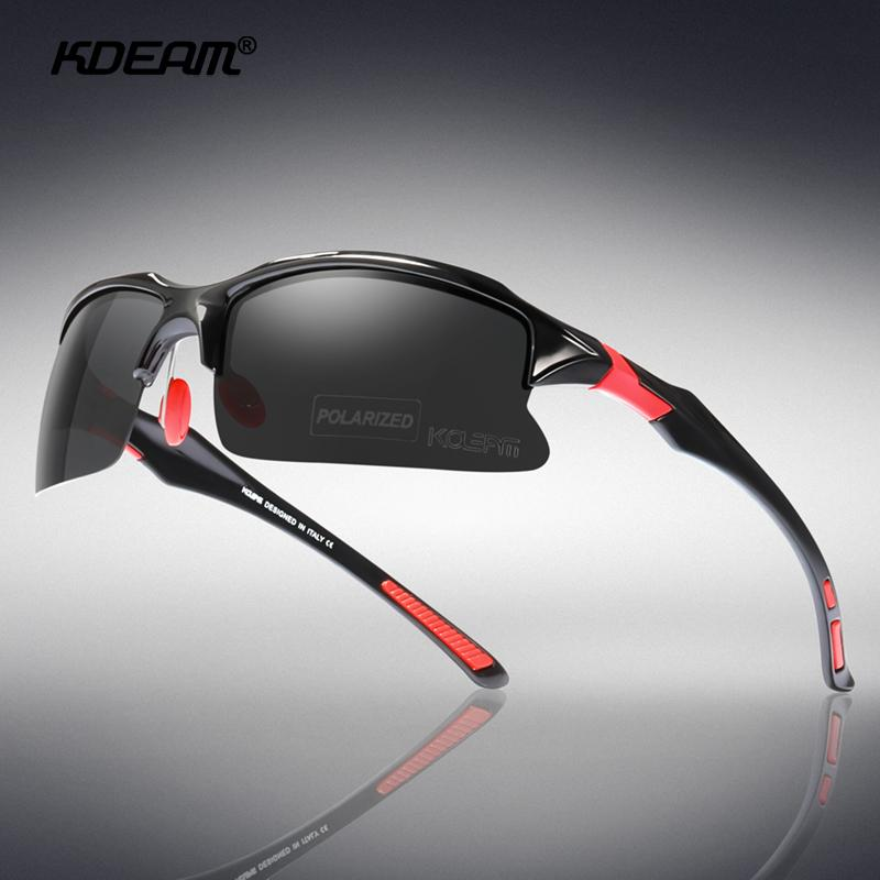 KDEAM Men TR90 Polarized Sport Sunglasses Outdoor Driving Fishing Square Glasses
