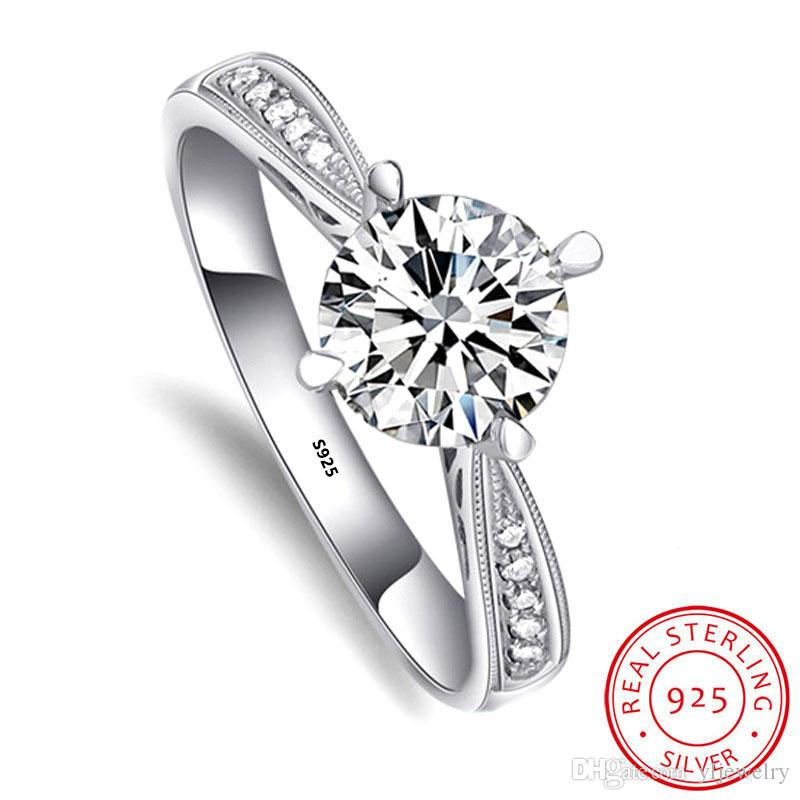 Luxury Real 100% 925 Sterling Silver Ring Micro Crown 1 Ct Diamond Wedding Engagement Rings Fashion Jewelry Gift Wholesale XR018