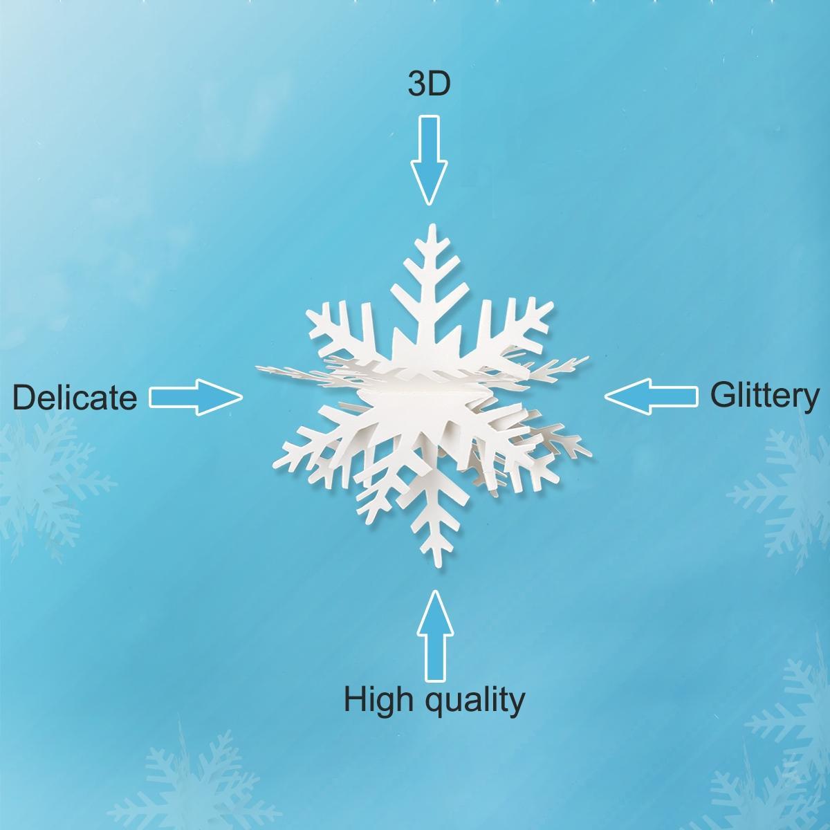 Замороженный Birthday Party Supplies 3M Белый Блестящий 3D Снежинка бумаги Garland Christmas Wedding Scene Новый Год баннер Домашнее украшение
