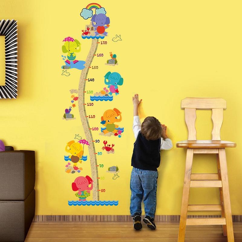 Wall DIY habitación del bebé pegatina de vinilo 3D Wallpaper auto adhesivo del papel pintado Medición de la altura de PVC Fondos de Escritorio Hd habitación Calcomanías