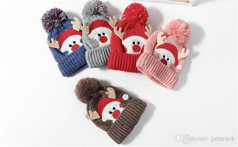 5 estilos de inverno nova pelúcia lã Natal chapéus Natal galhadas das crianças chapéus de inverno quente ao ar livre chapéus dc823