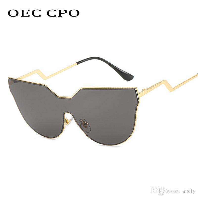 OEC CPO Art und Weise neue Spiegel-Maxi-Katzenaugen-Sonnenbrille Frauen Shades Brand Design Schwarz Silber ein Stück Sun Glasses FemaleL119