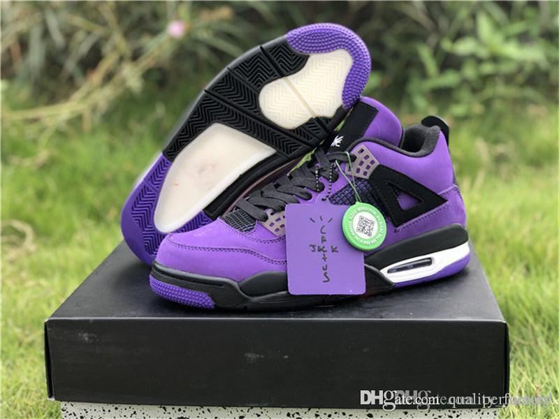 online store 65f88 5659d 2019 2018 Release 4 X Travis Scott 4S Cactus Jack IV Purple Blue Basketball  Shoes Sports Sneakers Authentic Quality With Box 308497 510 From ...