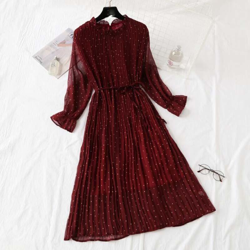 Femmes Imprimer Robe plissée en mousseline de soie 2020 Printemps Eté Nouveau chaud Mode Femme Casual Flare manches feuille Lotus cou base robes Y200623