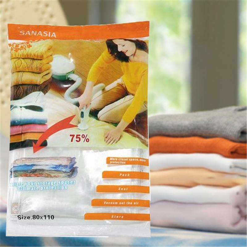 Vacuum Bag Storage Home Organizer Transparent Foldable Clothes Seal Vacuum Bags Space Saving Compressed Organizer Bag