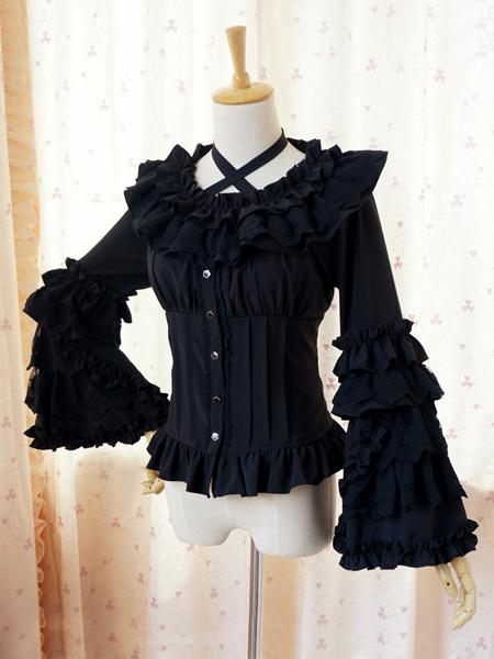 Sweet Lolita Blouse Lace Long Hime Sleeves Neck Straps Round Ruffles for Women Sleeveless Plum Blossom Printed Lolita Dress !